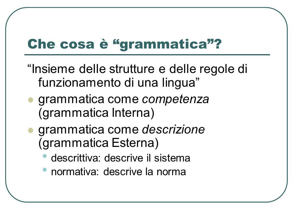 """Che cosa è """"grammatica""""? """"Insieme delle strutture e delle regole di funzionamento di una lingua"""" grammatica come competenza (grammatica Interna) gramm"""