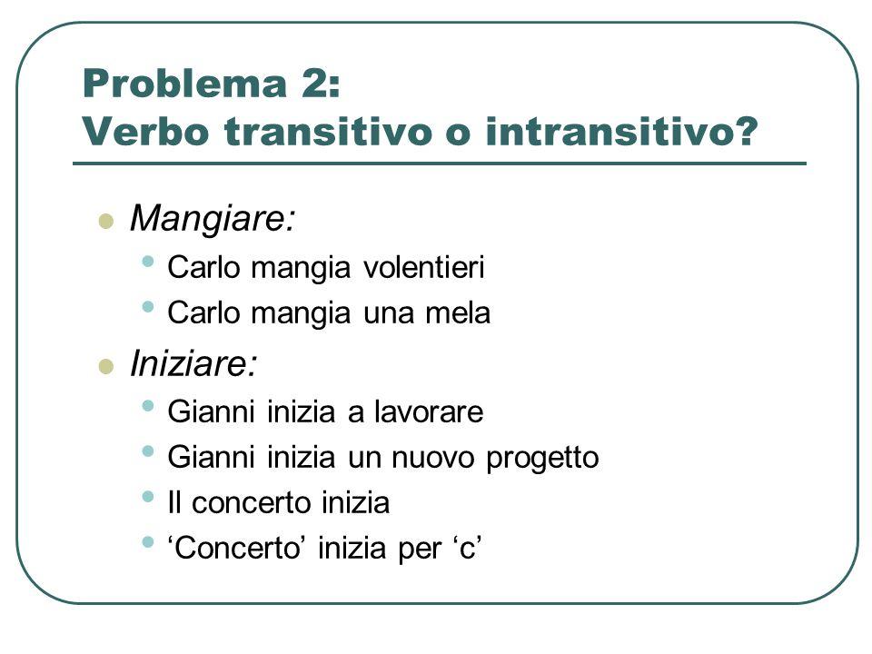 Problema 2: Verbo transitivo o intransitivo? Mangiare: Carlo mangia volentieri Carlo mangia una mela Iniziare: Gianni inizia a lavorare Gianni inizia