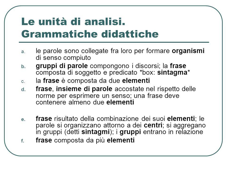 Le unità di analisi. Grammatiche didattiche a. le parole sono collegate fra loro per formare organismi di senso compiuto b. gruppi di parole compongon