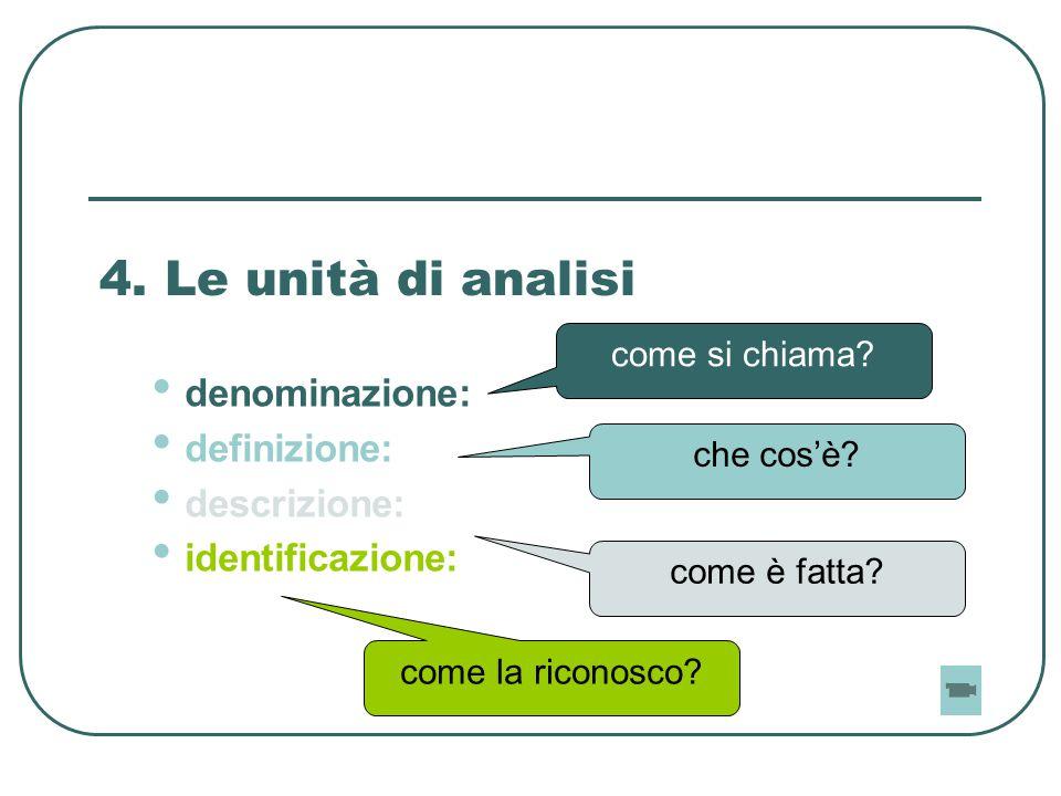 4. Le unità di analisi denominazione: definizione: descrizione: identificazione: come si chiama? che cos'è? come è fatta? come la riconosco?