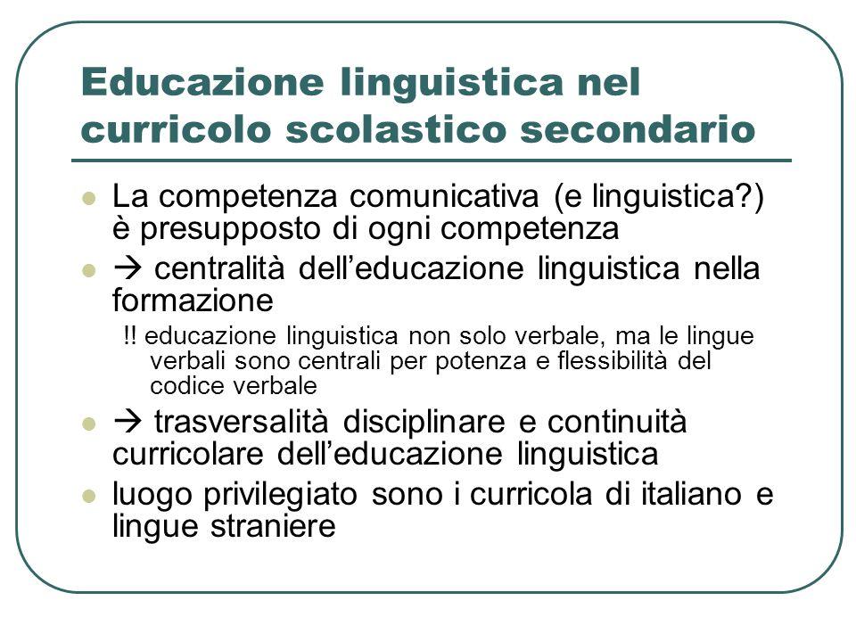 Educazione linguistica nel curricolo scolastico secondario La competenza comunicativa (e linguistica?) è presupposto di ogni competenza  centralità d