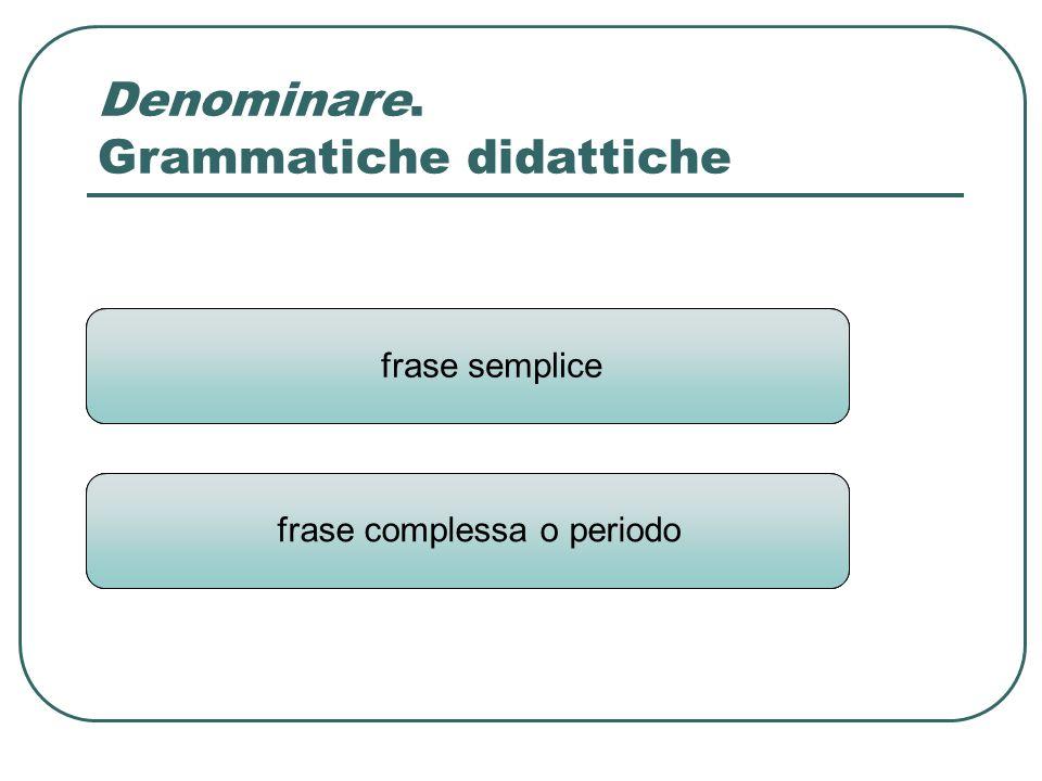 frase proposizione frase semplice Denominare. Grammatiche didattiche frase complessa o periodo