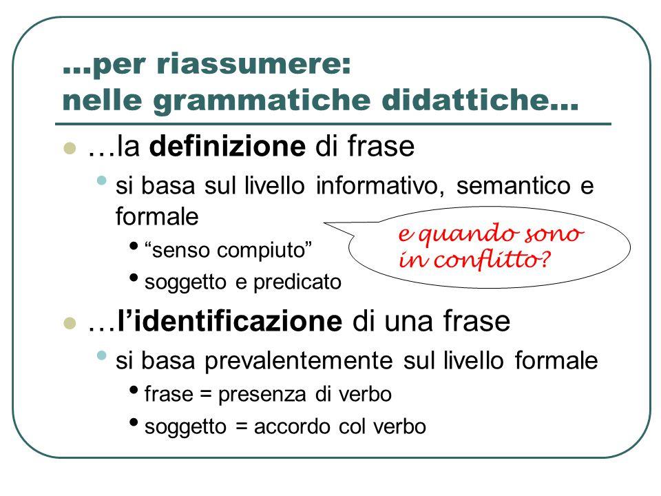 """…per riassumere: nelle grammatiche didattiche… …la definizione di frase si basa sul livello informativo, semantico e formale """"senso compiuto"""" soggetto"""