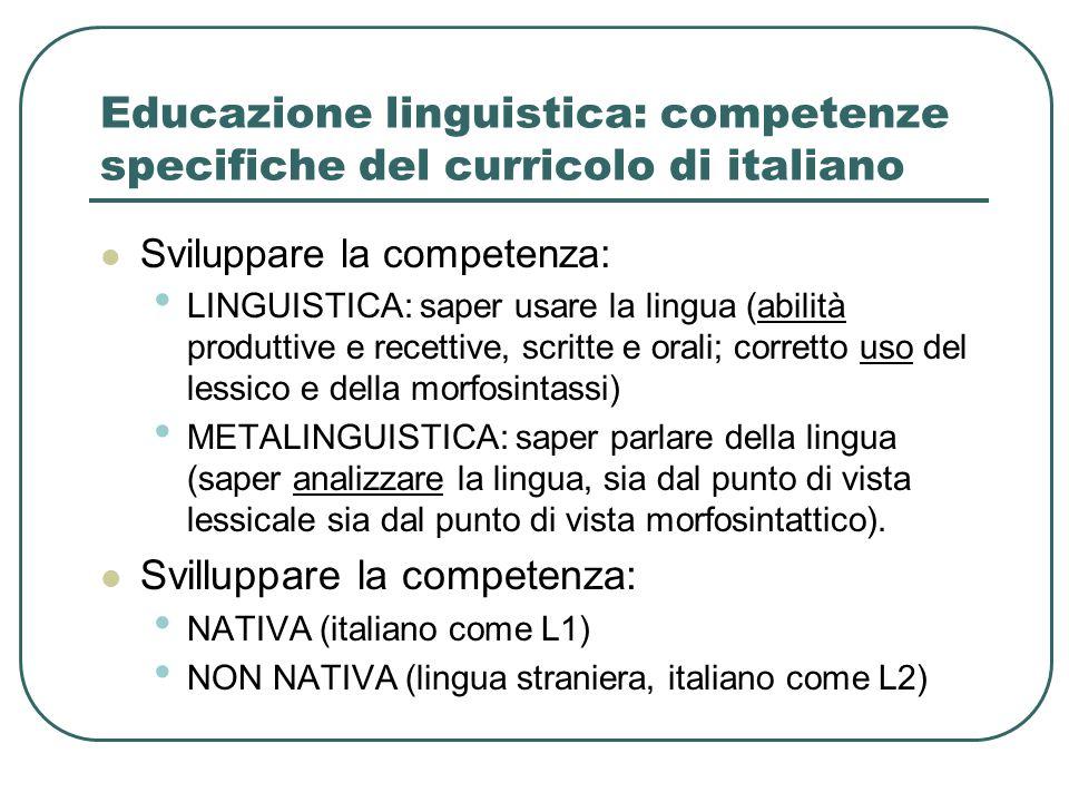 Educazione linguistica: competenze specifiche del curricolo di italiano Sviluppare la competenza: LINGUISTICA: saper usare la lingua (abilità produtti