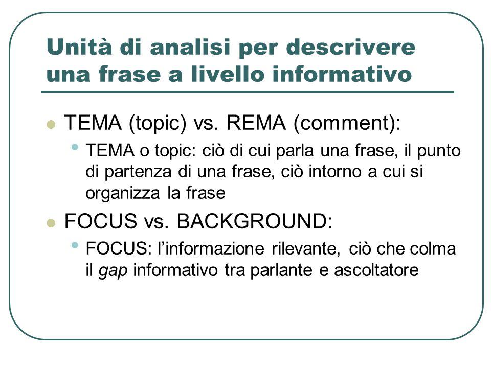 Unità di analisi per descrivere una frase a livello informativo TEMA (topic) vs. REMA (comment): TEMA o topic: ciò di cui parla una frase, il punto di