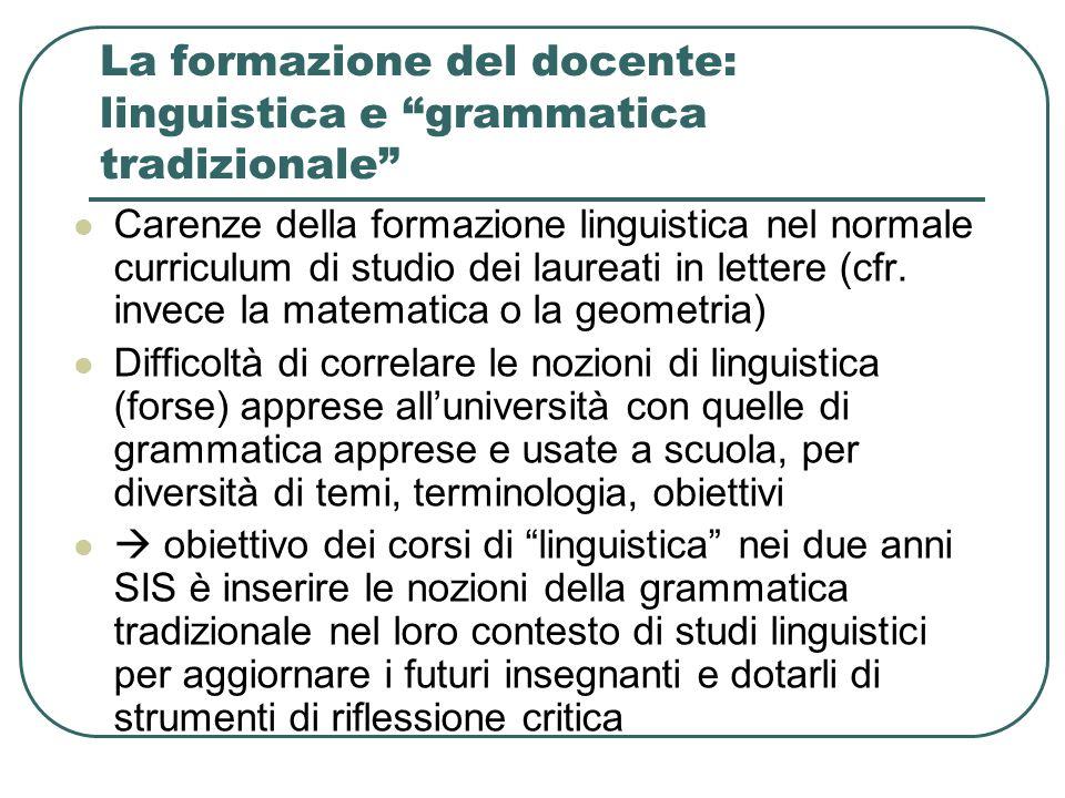 """La formazione del docente: linguistica e """"grammatica tradizionale"""" Carenze della formazione linguistica nel normale curriculum di studio dei laureati"""