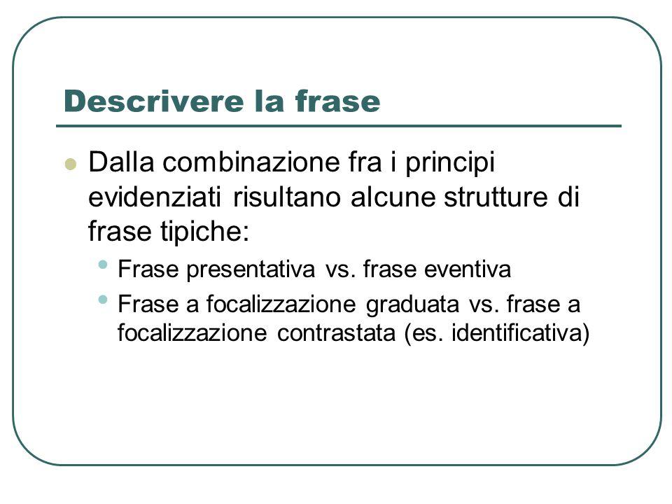 Descrivere la frase Dalla combinazione fra i principi evidenziati risultano alcune strutture di frase tipiche: Frase presentativa vs. frase eventiva F