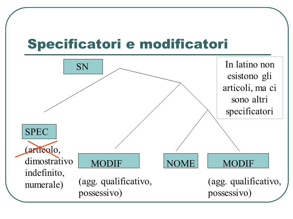 Specificatori e modificatori SPEC (articolo, dimostrativo indefinito, numerale) NOME MODIF (agg. qualificativo, possessivo) MODIF (agg. qualificativo,