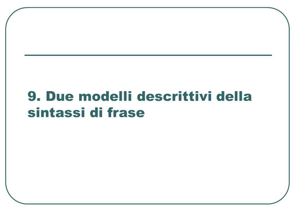 9. Due modelli descrittivi della sintassi di frase