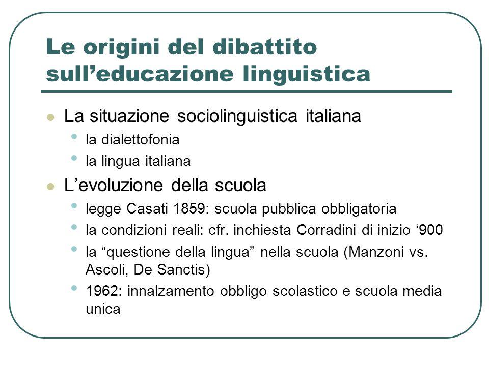 Le origini del dibattito sull'educazione linguistica La situazione sociolinguistica italiana la dialettofonia la lingua italiana L'evoluzione della sc