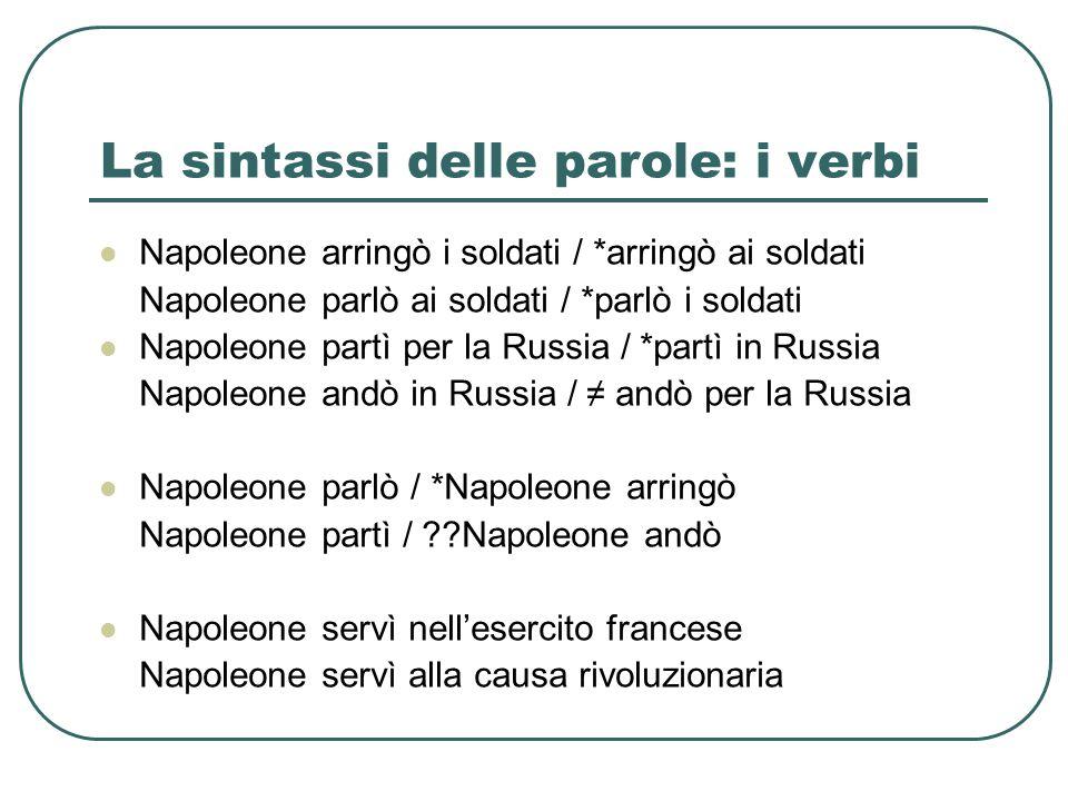 La sintassi delle parole: i verbi Napoleone arringò i soldati / *arringò ai soldati Napoleone parlò ai soldati / *parlò i soldati Napoleone partì per