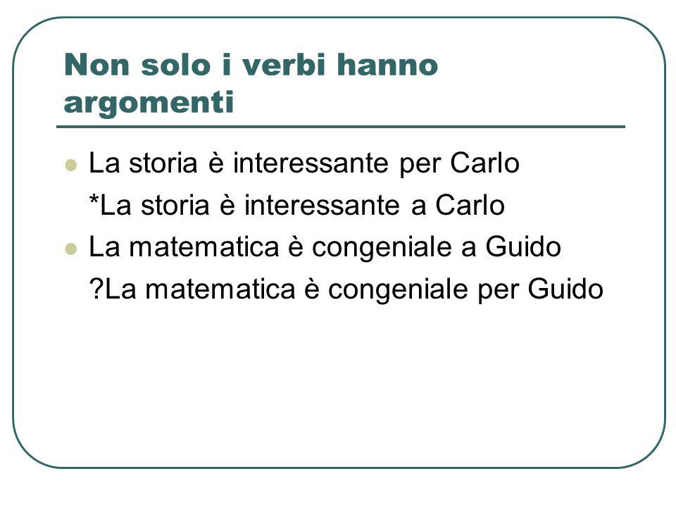 Non solo i verbi hanno argomenti La storia è interessante per Carlo *La storia è interessante a Carlo La matematica è congeniale a Guido ?La matematic