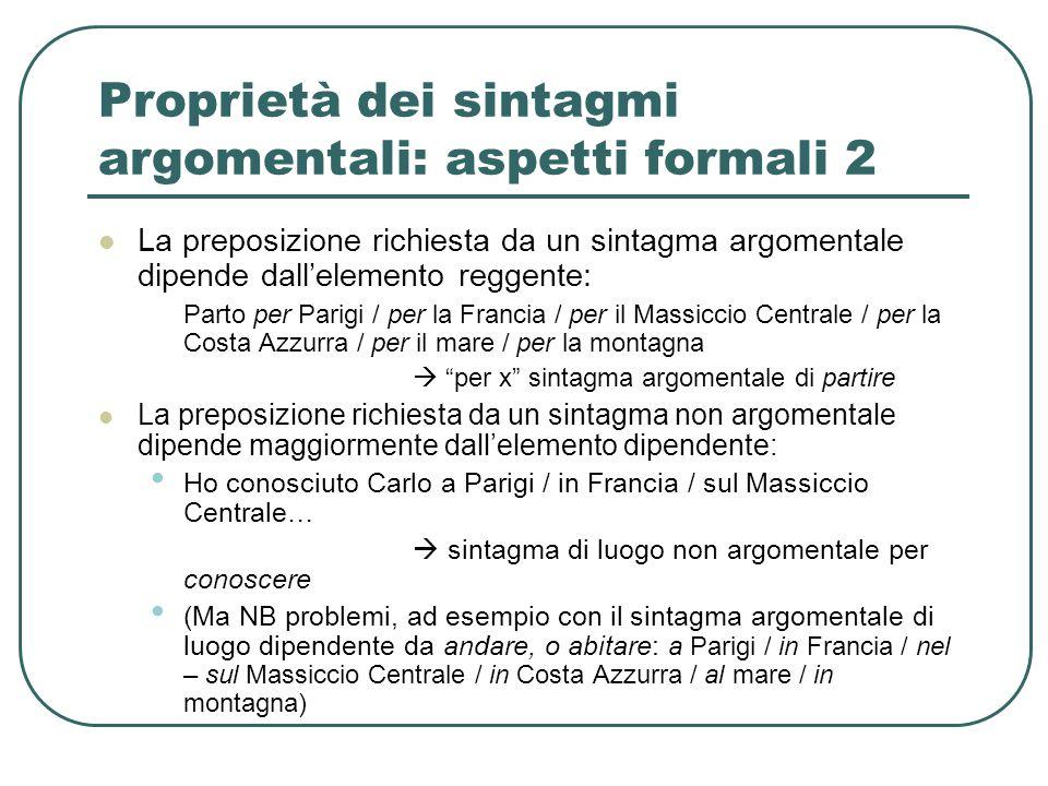 Proprietà dei sintagmi argomentali: aspetti formali 2 La preposizione richiesta da un sintagma argomentale dipende dall'elemento reggente: Parto per P