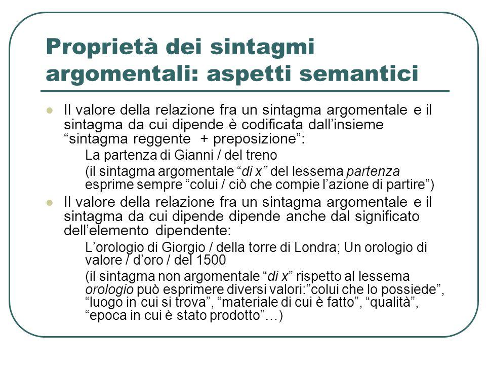 Proprietà dei sintagmi argomentali: aspetti semantici Il valore della relazione fra un sintagma argomentale e il sintagma da cui dipende è codificata
