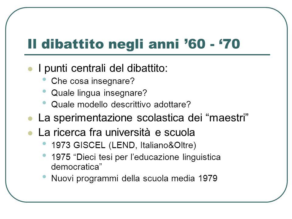 Il dibattito negli anni '60 - '70 I punti centrali del dibattito: Che cosa insegnare? Quale lingua insegnare? Quale modello descrittivo adottare? La s