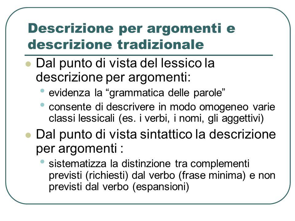 """Descrizione per argomenti e descrizione tradizionale Dal punto di vista del lessico la descrizione per argomenti: evidenza la """"grammatica delle parole"""
