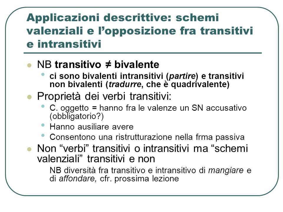 Applicazioni descrittive: schemi valenziali e l'opposizione fra transitivi e intransitivi NB transitivo ≠ bivalente ci sono bivalenti intransitivi (pa
