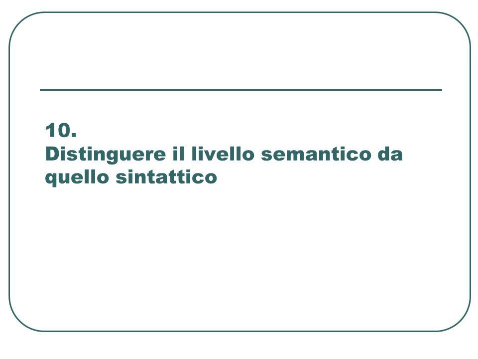 10. Distinguere il livello semantico da quello sintattico