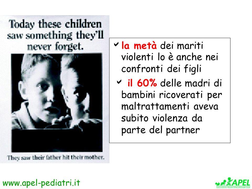www.apel-pediatri.it  la metà dei mariti violenti lo è anche nei confronti dei figli  il 60% delle madri di bambini ricoverati per maltrattamenti aveva subito violenza da parte del partner