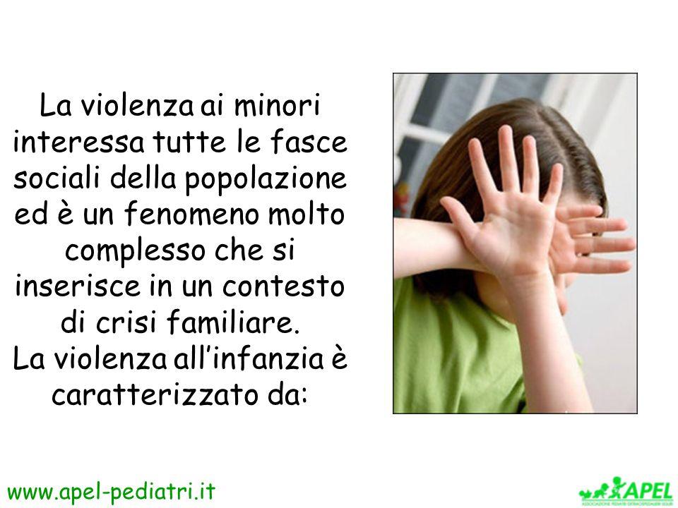www.apel-pediatri.it La violenza tra le mura domestiche ha come vittime le donne, i bambini e i soggetti deboli (anziani, disabili).