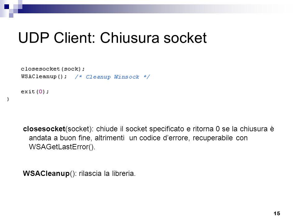 15 UDP Client: Chiusura socket closesocket(socket): chiude il socket specificato e ritorna 0 se la chiusura è andata a buon fine, altrimenti un codice d'errore, recuperabile con WSAGetLastError().