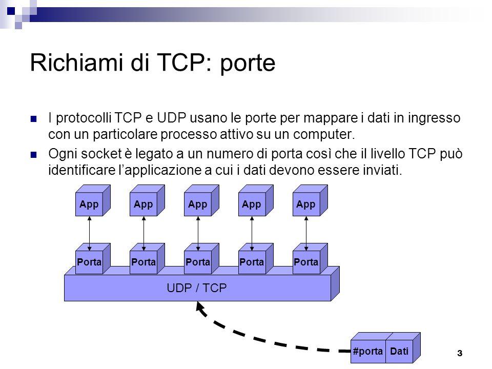 3 Richiami di TCP: porte I protocolli TCP e UDP usano le porte per mappare i dati in ingresso con un particolare processo attivo su un computer.
