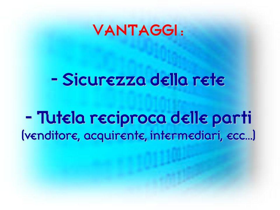 VANTAGGI : - Sicurezza della rete - Tutela reciproca delle parti (venditore, acquirente, intermediari, ecc…)