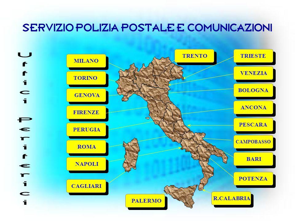 SERVIZIO POLIZIA POSTALE E COMUNICAZIONI TORINO VENEZIA PALERMO TRIESTE ROMA TRENTO ANCONA MILANO FIRENZE CAGLIARI PESCARA POTENZA CAMPOBASSO NAPOLI PERUGIA GENOVA BOLOGNA BARI R.CALABRIA