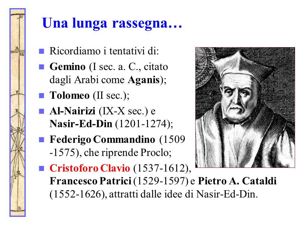Una lunga rassegna… Ricordiamo i tentativi di: Gemino (I sec. a. C., citato dagli Arabi come Aganis); Tolomeo (II sec.); Al-Nairizi (IX-X sec.) e Nasi