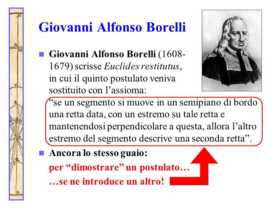 Giovanni Alfonso Borelli Giovanni Alfonso Borelli (1608- 1679) scrisse Euclides restitutus, in cui il quinto postulato veniva sostituito con l'assioma