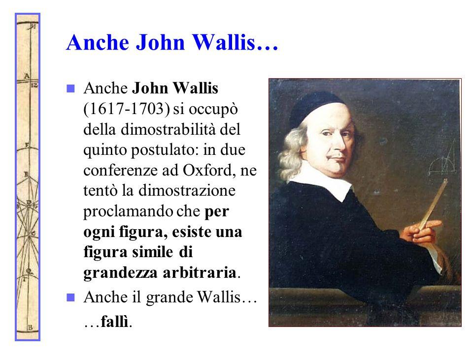 Anche John Wallis… Anche John Wallis (1617-1703) si occupò della dimostrabilità del quinto postulato: in due conferenze ad Oxford, ne tentò la dimostr