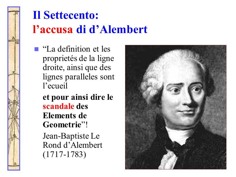 """Il Settecento: l'accusa di d'Alembert """"La definition et les proprietés de la ligne droite, ainsi que des lignes paralleles sont l'ecueil et pour ainsi"""