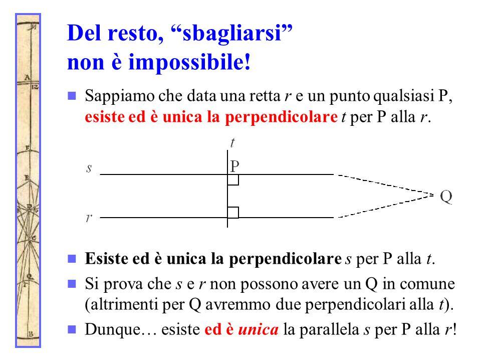 """Del resto, """"sbagliarsi"""" non è impossibile! Sappiamo che data una retta r e un punto qualsiasi P, esiste ed è unica la perpendicolare t per P alla r. E"""