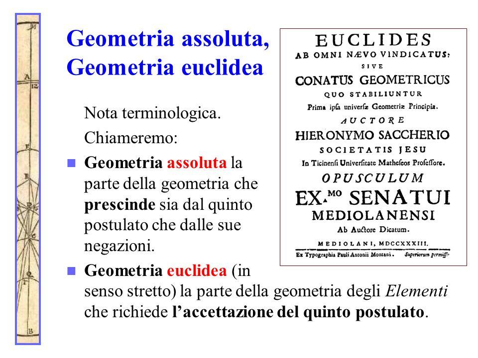 Geometria assoluta, Geometria euclidea Nota terminologica. Chiameremo: Geometria assoluta la parte della geometria che prescinde sia dal quinto postul
