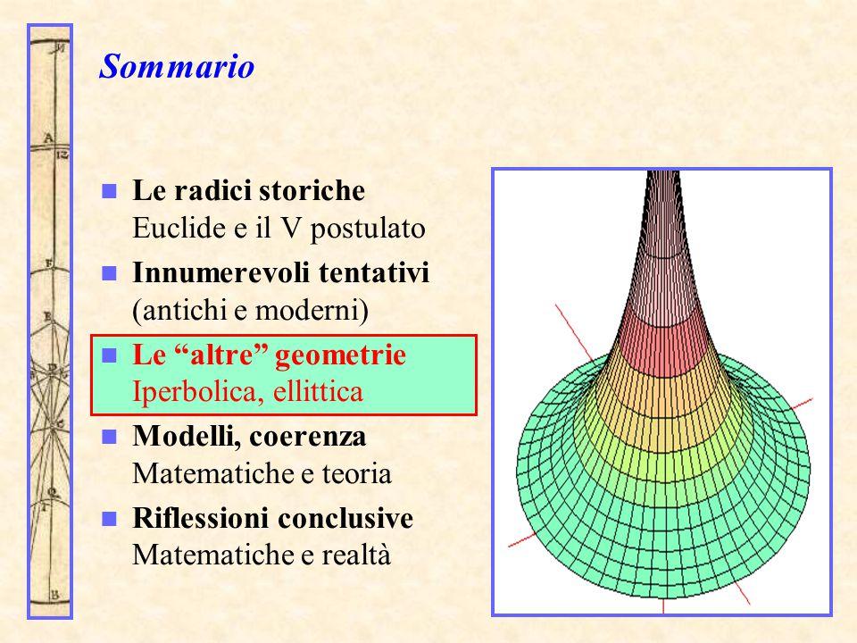 """Sommario Le radici storiche Euclide e il V postulato Innumerevoli tentativi (antichi e moderni) Le """"altre"""" geometrie Iperbolica, ellittica Modelli, co"""