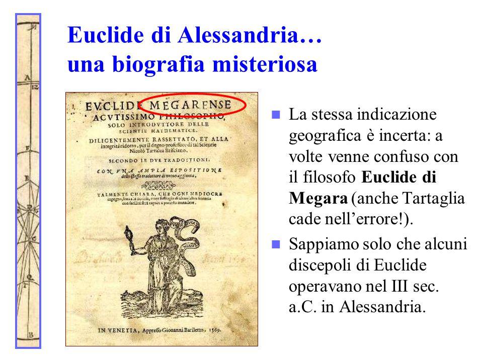 Euclide di Alessandria… una biografia misteriosa La stessa indicazione geografica è incerta: a volte venne confuso con il filosofo Euclide di Megara (
