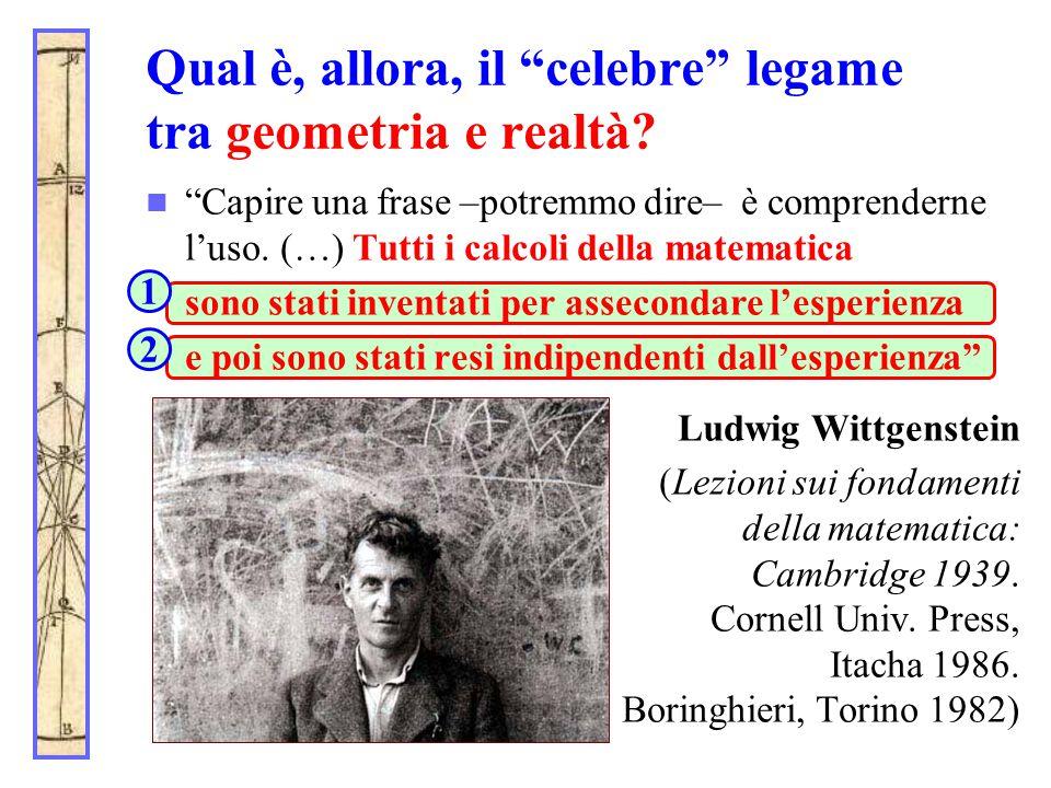 """Qual è, allora, il """"celebre"""" legame tra geometria e realtà? """"Capire una frase –potremmo dire– è comprenderne l'uso. (…) Tutti i calcoli della matemati"""