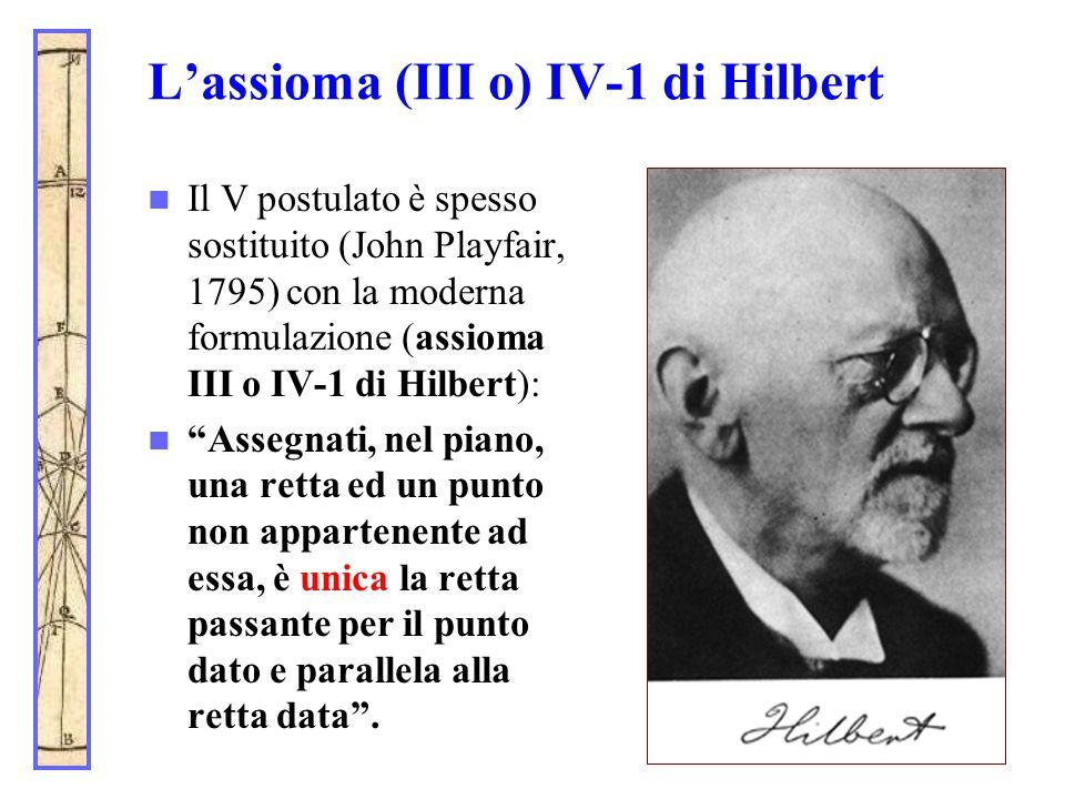 L'assioma (III o) IV-1 di Hilbert Il V postulato è spesso sostituito (John Playfair, 1795) con la moderna formulazione (assioma III o IV-1 di Hilbert)