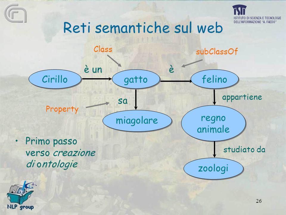 26 Primo passo verso creazione di ontologie Reti semantiche sul web Cirillo miagolare zoologi regno animale regno animale gatto felino è unè sa appartiene studiato da Class Property subClassOf
