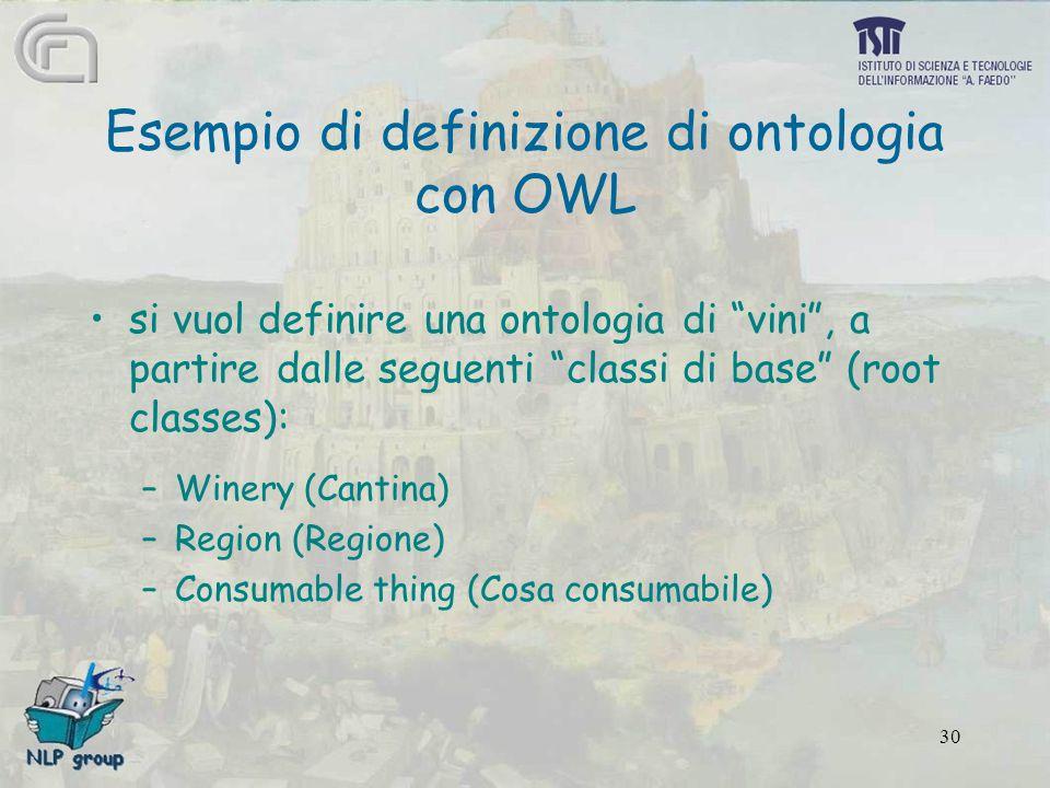 30 Esempio di definizione di ontologia con OWL si vuol definire una ontologia di vini , a partire dalle seguenti classi di base (root classes): –Winery (Cantina) –Region (Regione) –Consumable thing (Cosa consumabile)