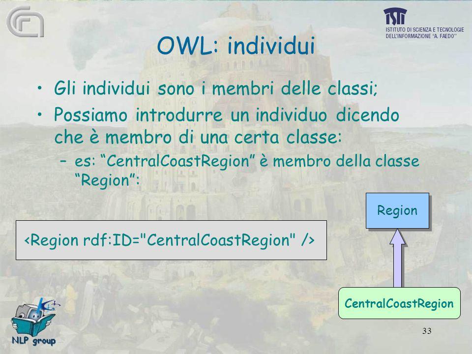 33 Region Gli individui sono i membri delle classi; Possiamo introdurre un individuo dicendo che è membro di una certa classe: –es: CentralCoastRegion è membro della classe Region : OWL: individui CentralCoastRegion