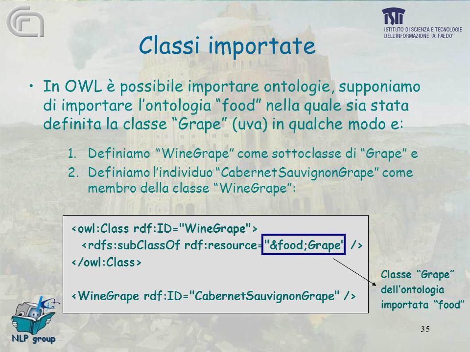 """35 In OWL è possibile importare ontologie, supponiamo di importare l'ontologia """"food"""" nella quale sia stata definita la classe """"Grape"""" (uva) in qualch"""