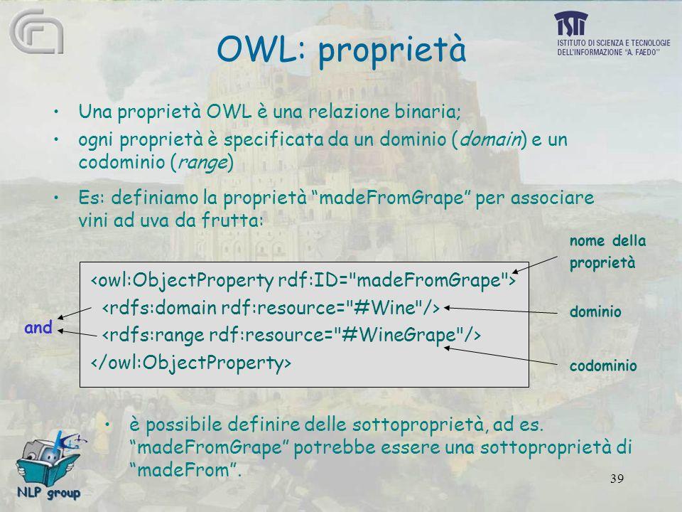 39 OWL: proprietà Una proprietà OWL è una relazione binaria; ogni proprietà è specificata da un dominio (domain) e un codominio (range) Es: definiamo la proprietà madeFromGrape per associare vini ad uva da frutta: nome della proprietà dominio codominio è possibile definire delle sottoproprietà, ad es.
