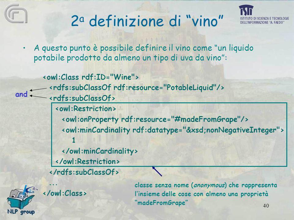40 2 a definizione di vino A questo punto è possibile definire il vino come un liquido potabile prodotto da almeno un tipo di uva da vino : 1...