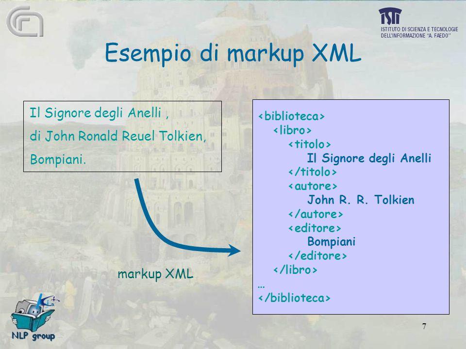 7 Esempio di markup XML Il Signore degli Anelli, di John Ronald Reuel Tolkien, Bompiani.