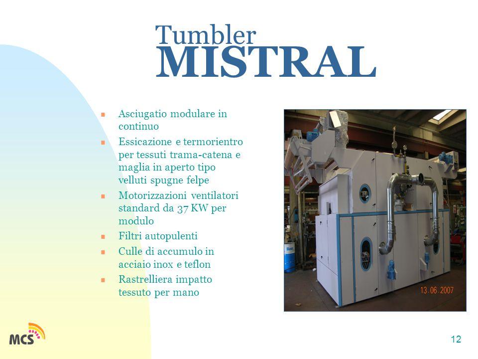 12 Tumbler MISTRAL Asciugatio modulare in continuo Essicazione e termorientro per tessuti trama-catena e maglia in aperto tipo velluti spugne felpe Mo