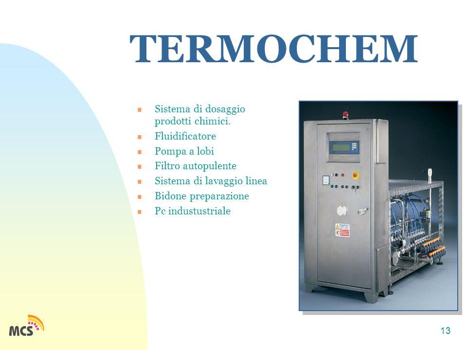 13 TERMOCHEM Sistema di dosaggio prodotti chimici. Fluidificatore Pompa a lobi Filtro autopulente Sistema di lavaggio linea Bidone preparazione Pc ind
