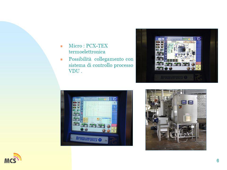 6 Micro : PCX-TEX termoelettronica Possibilità collegamento con sistema di controllo processo VDU.