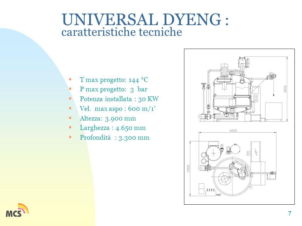 7 UNIVERSAL DYENG : caratteristiche tecniche  T max progetto: 144 °C  P max progetto: 3 bar  Potenza installata : 30 KW  Vel. max aspo : 600 m/1'