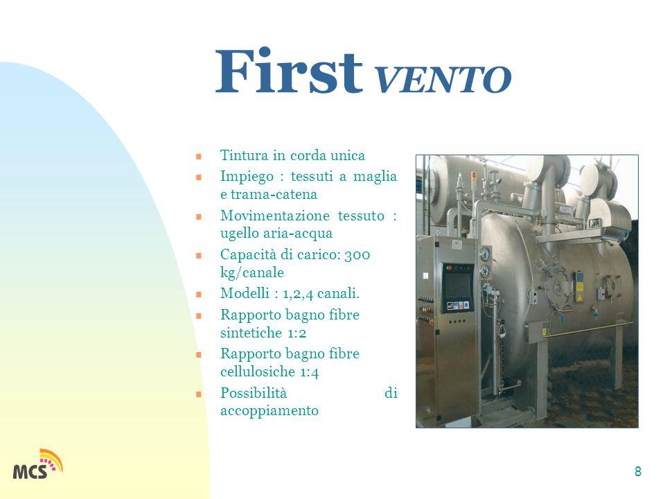 8 First VENTO Tintura in corda unica Impiego : tessuti a maglia e trama-catena Movimentazione tessuto : ugello aria-acqua Capacità di carico: 300 kg/canale Modelli : 1,2,4 canali.